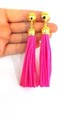 Pink Faux Suede Clip-On Tassel Earrings by Olivia Divine Jewellery