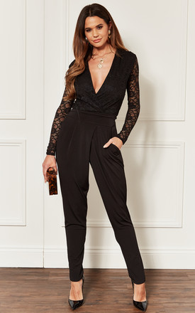Black Lace Top Jumpsuit by John Zack Product photo