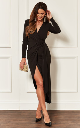 Black Long Sleeve Tie Side Midi Wrap Dress by John Zack Product photo