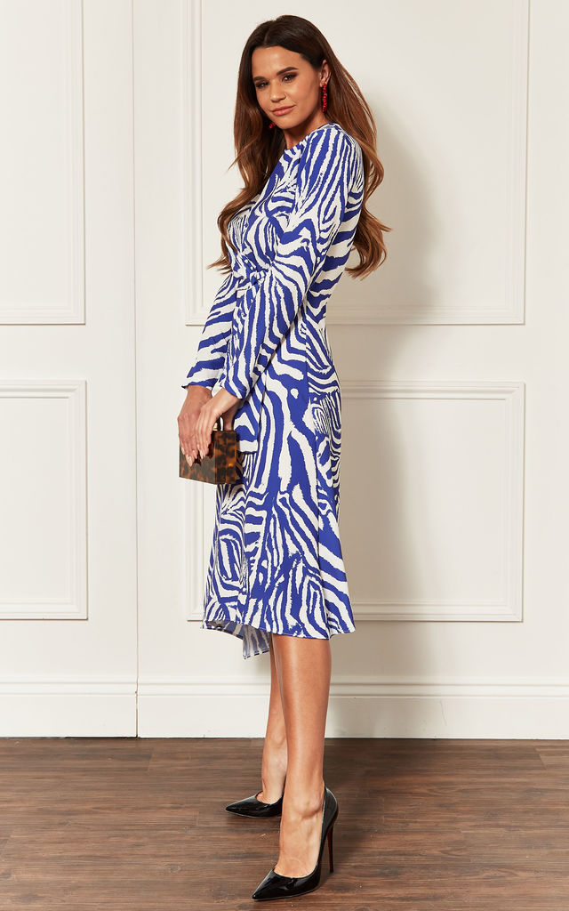 Blue Zebra Print A Line Midi Dress by John Zack