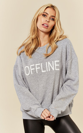 Grey Offline Slogan Sweatshirt by India Gray Product photo