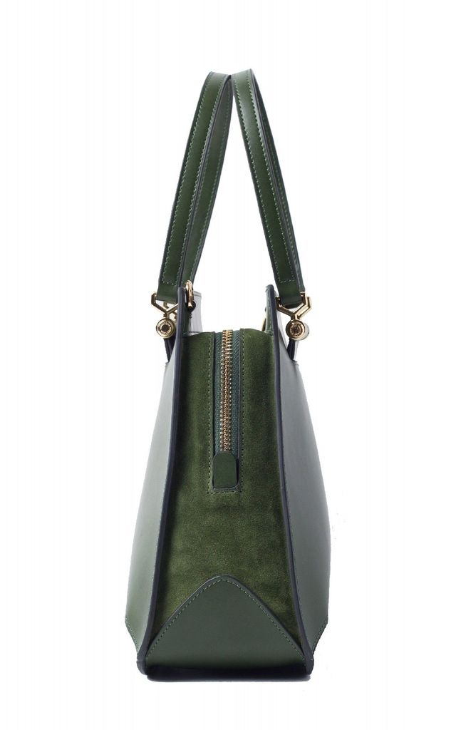 Green Leather Tote Handbag with Zipper by MOOD BAG