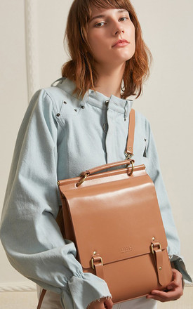 Classic brown Leather Backpack by MOOD BAG
