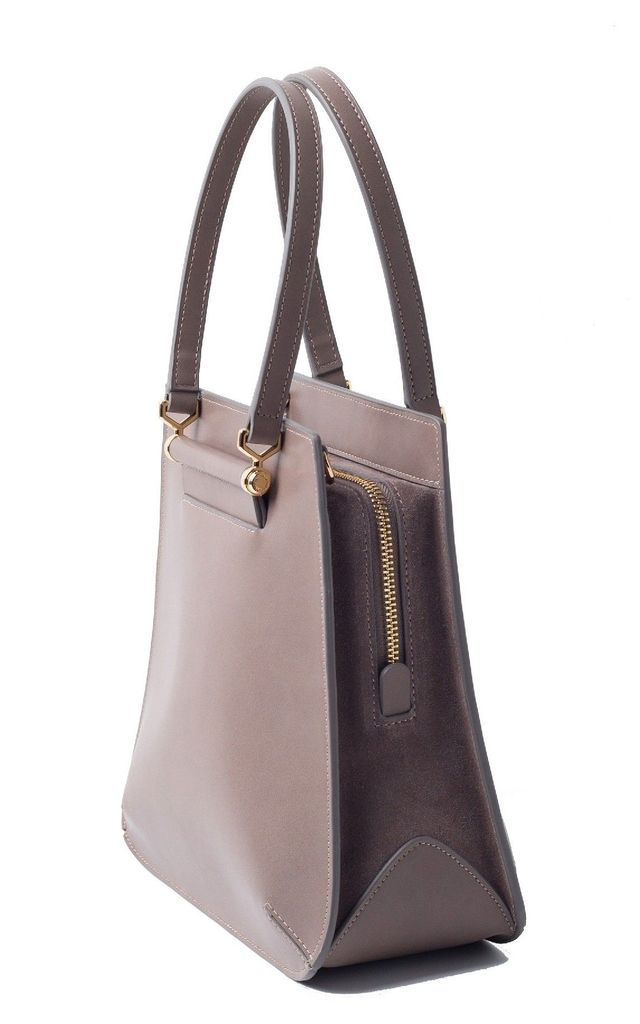 Small Grey Leather Tote Bag with Zipper by MOOD BAG