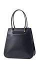 Black Small Tote Leather Handbag with Zipper by MOOD BAG