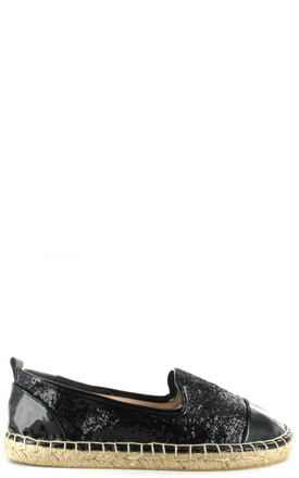 Black Glitter Espadrille by Fashion Mad