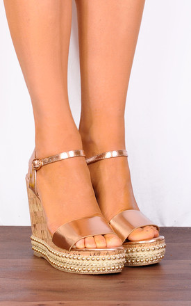Cork Wedged Platform Sandals in Metallic Rose Gold by Shoe Closet