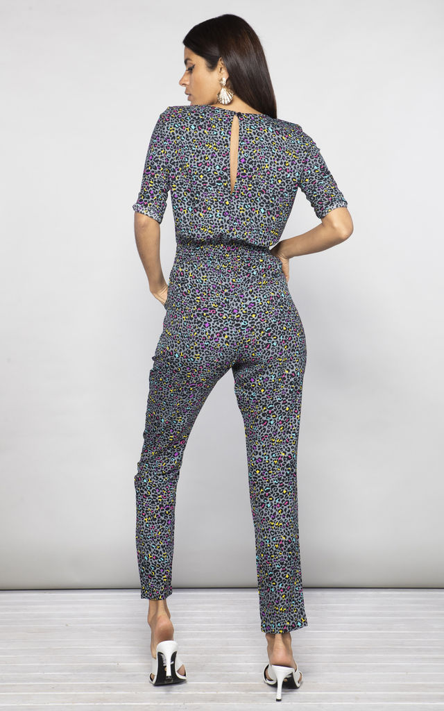 ZION JUMPSUIT IN MULTI DITSY LEOPARD image