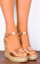 Rose Gold Metallic Cork Wedged Platform Strappy Sandals with Ankle Straps Wedges by Shoe Closet