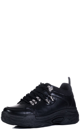 MAGNESIA Chunky Sole Trainers - Black Leather Style by SpyLoveBuy
