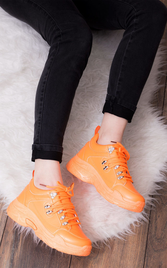 MAGNESIA Chunky Sole Trainers - Neon Orange Leather Style by SpyLoveBuy