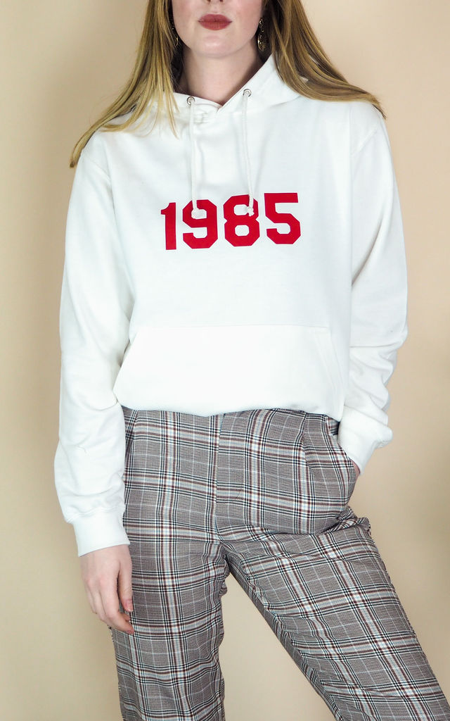 Oversized White Hoodie with Personalised Year by Rock On Ruby