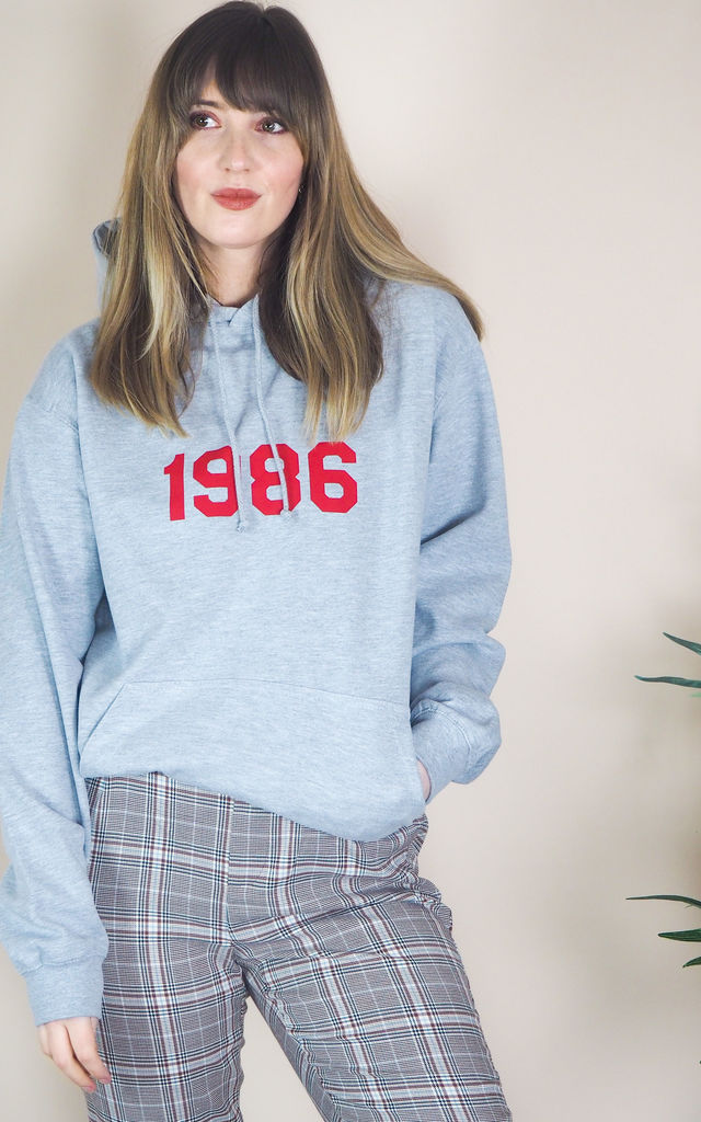 Oversized Grey Hoodie with Personalised Year by Rock On Ruby