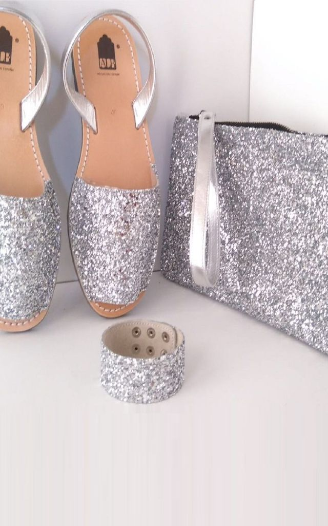 ALBies Leather Moroccan Flat Sandals in Silver Glitter by Avenue L Boutique