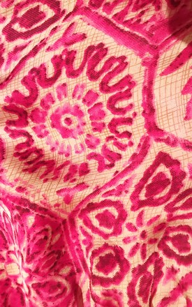 Harlow Pink Beach Shorts in Pink Moroccan Print by Leigh Taylor