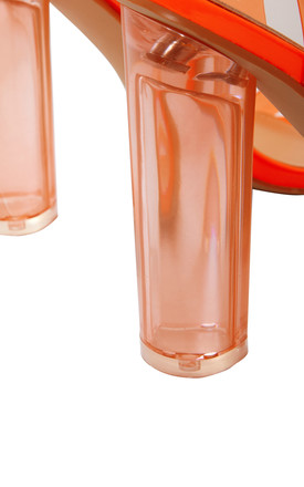 SKYE PERSPEX HEELS in NEON ORANGE by Shelikes