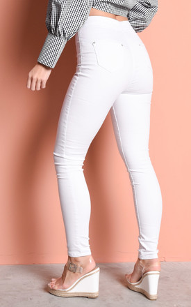 High Waisted Super Skinny Tube Jeans White by LILY LULU FASHION