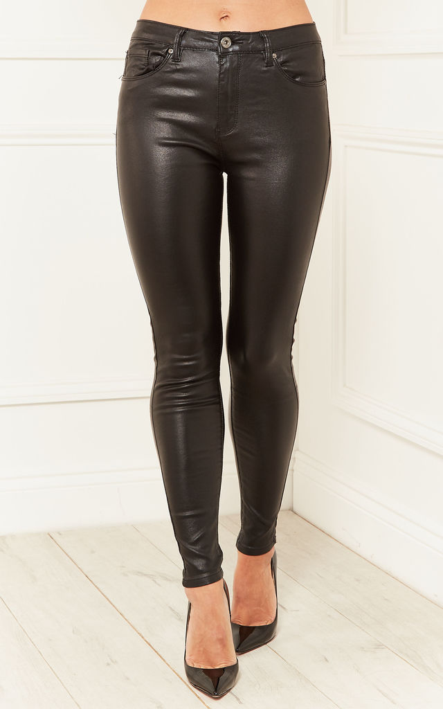 Black Abbey Wax Coated Jeans by Bella and Blue