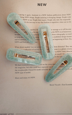 Pack of 2 Oliveira Green Square Fleck Sparkle Glitter Hair Clip by Ajouter Store