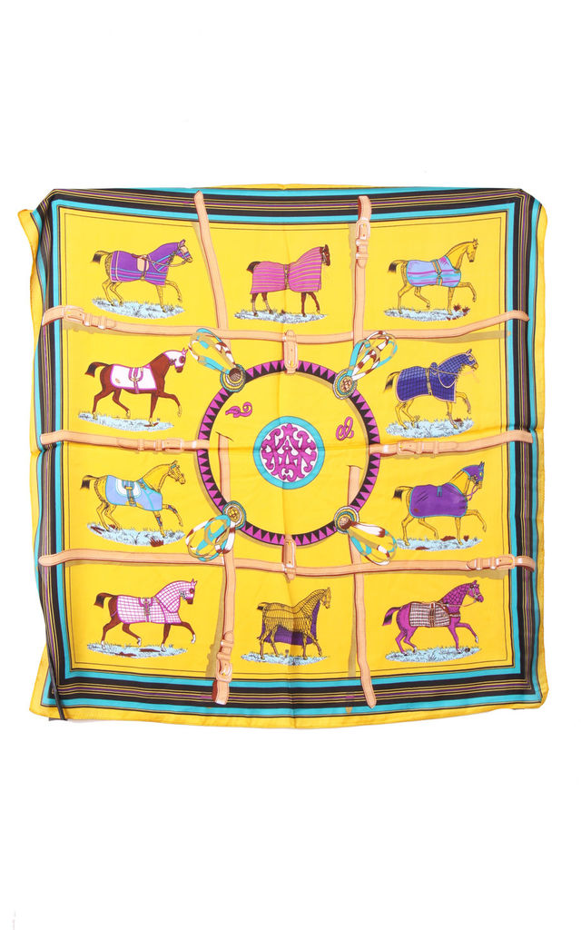 Yellow Horses Print Bandana Square Scarf by Urban Mist