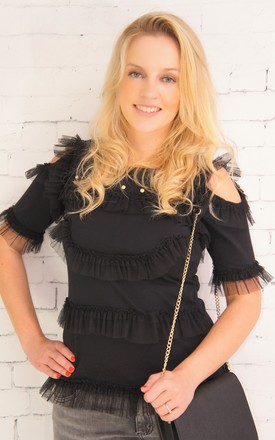 Ruffled black short sleeves top with open shoulders by E&A Fashion