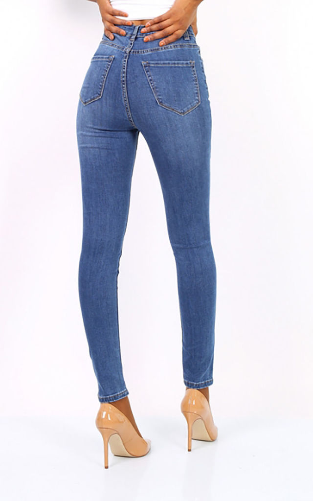 High Waisted Skinny Jeans -Denim Mid Blue by FreeSpirits