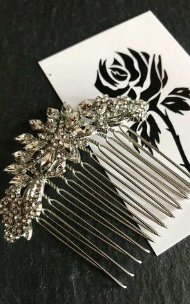 Bess flower crystal hair comb by Kate Coleman