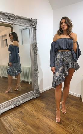 Lacey co-ord set in grey | off shoulder long sleeve grey crop top and animal print ruffle mini skirt by MOLLY ALVIN