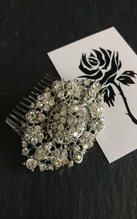 Silver oval crystal wedding hair comb by Kate Coleman
