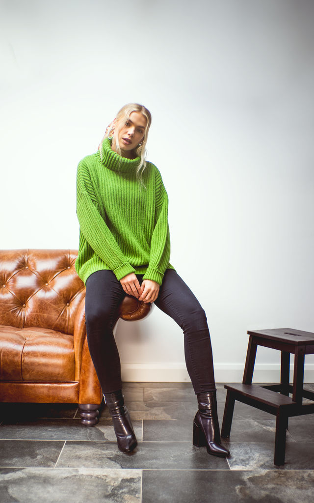 The Kadi Cowl Neck Jumper in Green by Route13