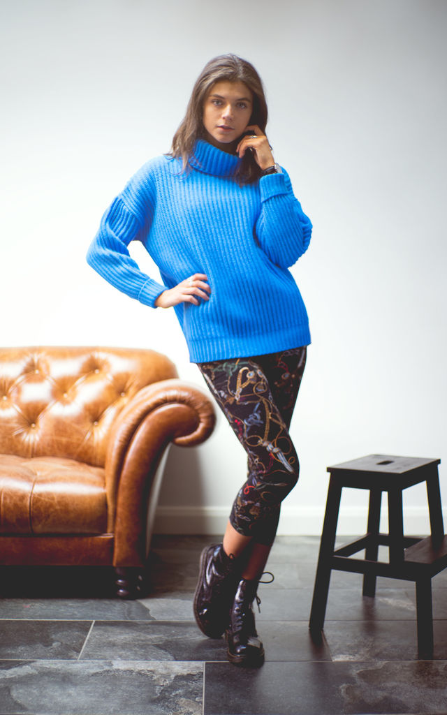The Kadi Cowl Neck Jumper in Blue by Route13