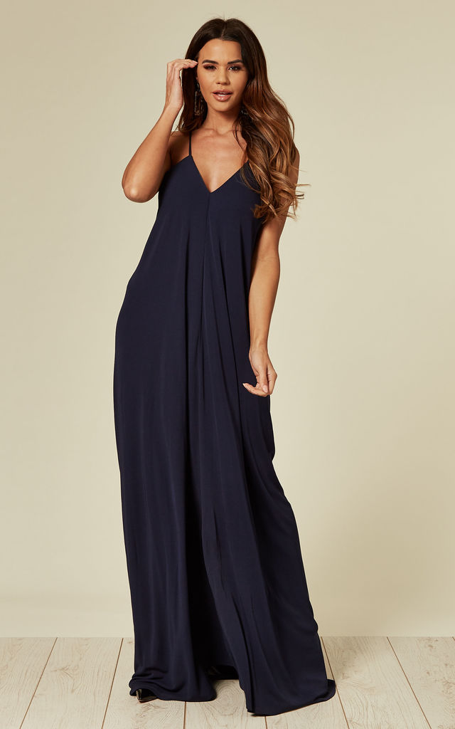 Sophie Navy Crepe Maxi Dress with Back Drape Detail by Belles of London