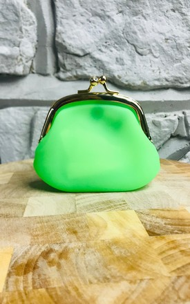 Neon Kiss Lock Coin Purse In Green by Pink Lemonade Boutique Product photo