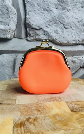 Neon Kiss Lock Coin Purse In Orange by Pink Lemonade Boutique Product photo