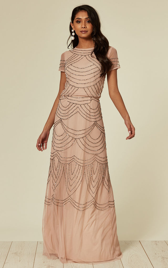 Embellished Sequin Nude Pink Bridesmaids Maxi Dress by ANGELEYE