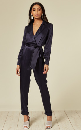 Navy Silk Shirt Style Jumpsuit by Belles Of London