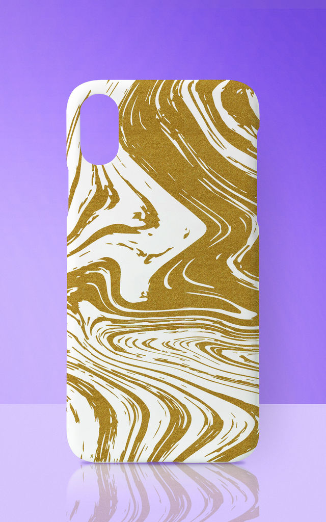 Gold Marble Effect Phone Case by Art Wow