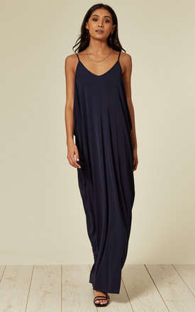 Athena Occasion Strappy Maxi Dress in Navy Crepe Drape Side Detail by Belles of London