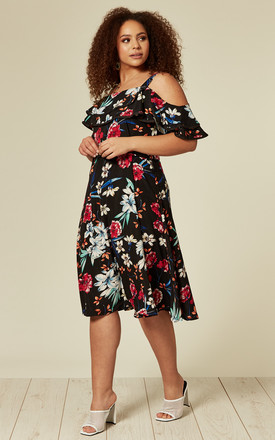 Plus size floral off the shoulder midi dress by Oeuvre