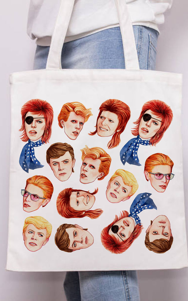 Canvas Tote Bag with David Bowie Inspired Colourful Print by Art Wow