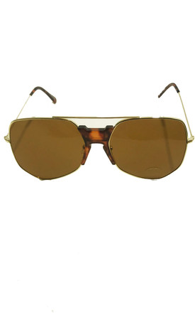 Light Brown Aviator Style Sunglasses by Miss Mills