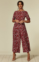 Bianca Floral Short Sleeved Jumpsuit in Red & Blue by Traffic People