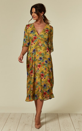 Blithe Tropical Midi Dress in Mustard by Traffic People