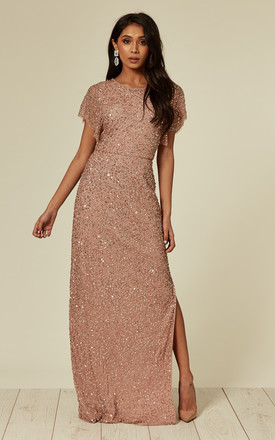 Embellished Nude Pink Maxi Dress by ANGELEYE Product photo
