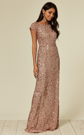 All Over Nude Pink Sequin Maxi Dress by ANGELEYE