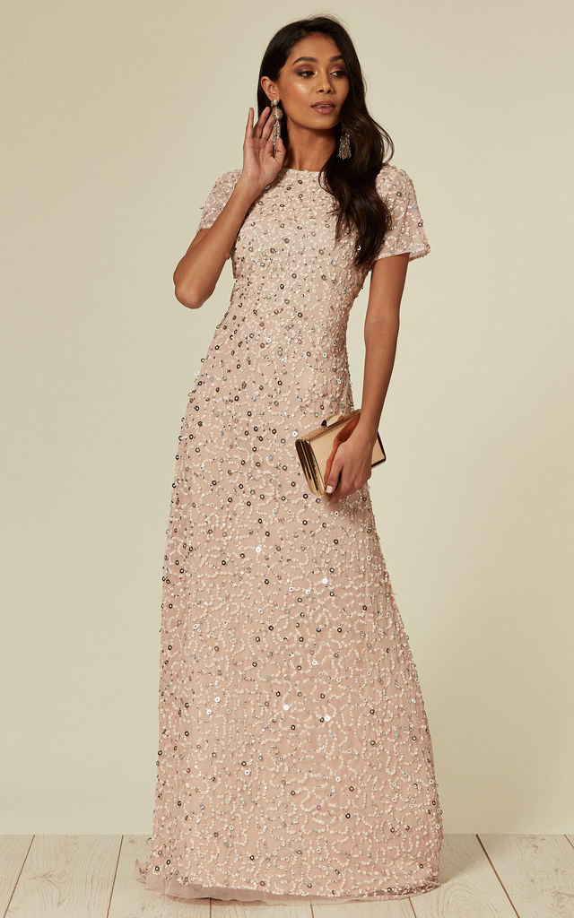 6bafa4c23 Light Pink Beaded Sequin Maxi Dress | ANGELEYE | SilkFred