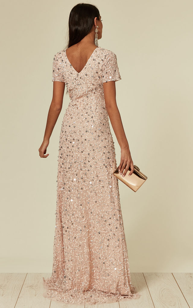 Light Pink Beaded Sequin Maxi Dress by ANGELEYE