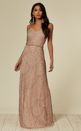 Nude Pink Stripe Embellished Maxi Dress by ANGELEYE Product photo