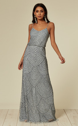 666e376eea Heather Blue Stripe Embellished Maxi Dress