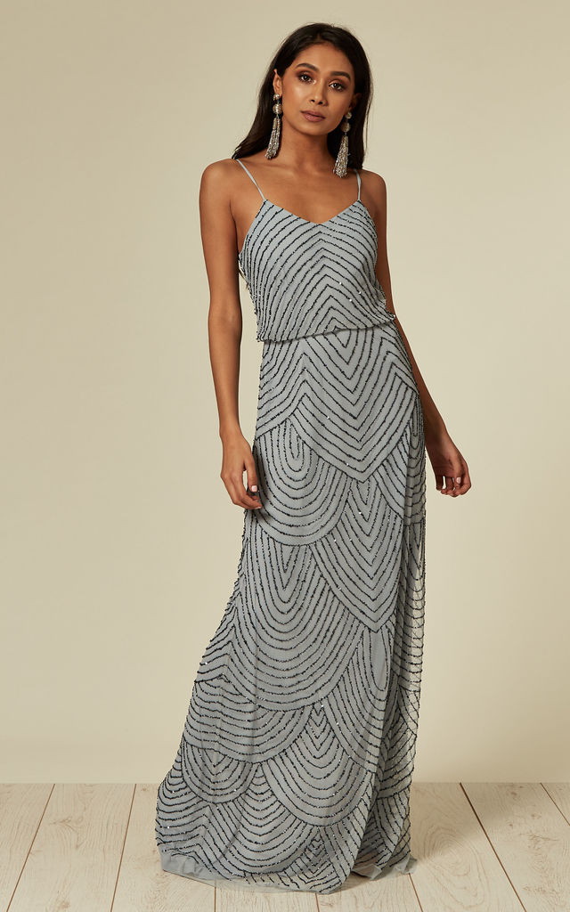 Cami Sequin Stripe Embellished Maxi Dress in Heather Blue by ANGELEYE